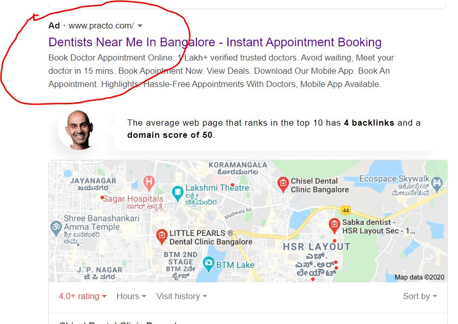 The image shows the example of Digital Marketing for Doctors in India through PPC ads
