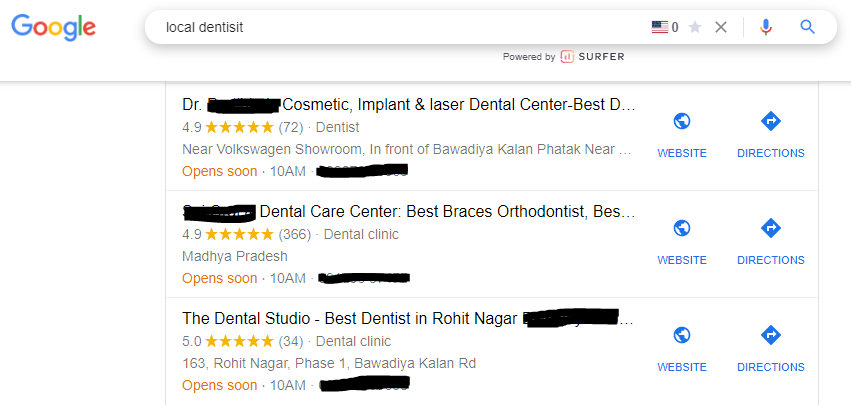 the image shows the local listing on Google my business which is one of the best digital marketing for a dental practice & the the pillar of dental marketing